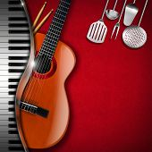 picture of bluegrass  - Red velvet background with kitchen utensils acoustic guitar piano keyboard and drum sticks - JPG