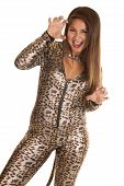 Woman In Her Leopard Costume