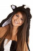 stock photo of skunks  - A close up of a woman in her skunk costume with a smile on her face - JPG