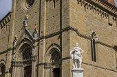 Statue In Front Of The Duomo In Arezzo