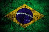 image of brasilia  - grunge flag of Brazil with capital in Brasilia - JPG
