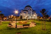 picture of serbia  - Saint Sava temple at night Belgrade Serbia