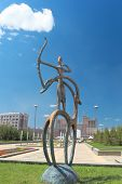 Statue In The Kazakh National Style In The Center Of Astana.