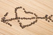 picture of siluet  - Siluet hearts damaged boom laid out coffee beans - JPG