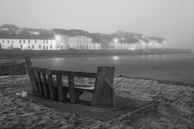 picture of claddagh  - cold night winter view on the Corrib river in fog and houses in Galway Claddagh Black and White - JPG