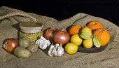 fruits and vegetables on rustic fabric