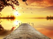 foto of pier a lake  - pier in a corner of the lake - JPG