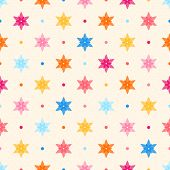 Retro Seamless Pattern. Color Flowers And Dots
