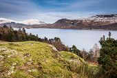 Derwent Water With Snow Covered Lonscale Fell