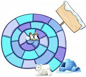 Illustration of a puzzle game with penguin and polar bear