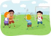 stock photo of stickman  - Stickman Illustration of Boys Playing Lacrosse - JPG