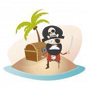 funny cartoon pirate on treasure island