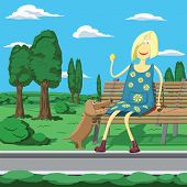 Cartoon Girl In Park Sitting On The Banch Playing With Dog