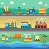 Industrial buildings factories horizontal banners set vector illustration
