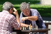 BELGRADE, SERBIA - JULY 29, 2014: two middle-aged men are playing a match of chess in Kalemegdan Fortress of Belgrade Old Town. Shot in 2014