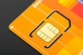 stock photo of micro-sim  - Yellow sim card - JPG