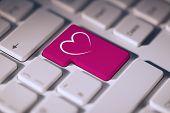 foto of keyboard keys  - Heart against pink enter key on keyboard - JPG