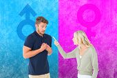 Woman accusing her guilty looking boyfriend against pink and blue