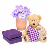 Charming Teddy Bear With Fabric Heart And Gift Box For Jewelry