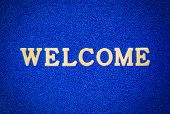 Bule Doormat And Welcome Text