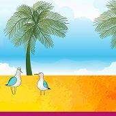 tropical  theme - birds palms trees hot  sky