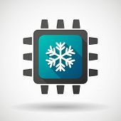 Cpu Icon With A Snow Flake