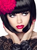 Closeup Portrait of Fashion Model Girl With Makeup And Bob Short Hair