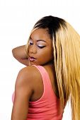 African American Woman Standing Blond Wig Back