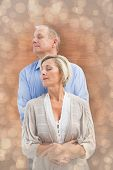 pic of male pattern baldness  - Happy mature couple embracing with eyes closed against light glowing dots design pattern - JPG