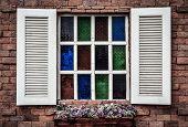 Vintage Old White Window On Old Brick Wall