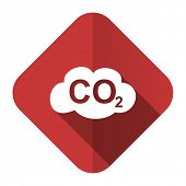 carbon dioxide flat icon co2 sign