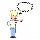 cartoon woman pointing finger of blame with speech bubble