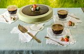 Easter Table With Tea Matcha Cheesecake And Black Coffee On Background Of Green Grass