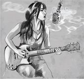 Smoking. Guitar Player. An Hand Drawn Vector