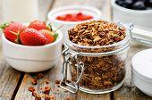 Granola With Yogurt, Nuts, Goji Berries And Strawberries
