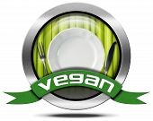 stock photo of vegan  - Metallic round vegan symbol or icon with green vegetables white empty plate and silver cutlery green ribbon with text vegan - JPG