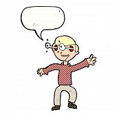 cartoon amazed boy with speech bubble
