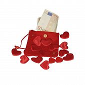 Red Purse With Fifty Euro Banknote