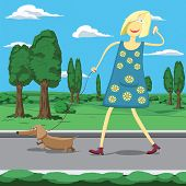 Cartoon Girl Walking A Dog In Park Tolking On The Cellphone