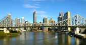 image of bridge  - Story Bridge with Brisbane river and City in background - JPG