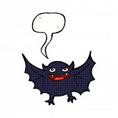 foto of vampire bat  - cartoon vampire bat with speech bubble - JPG