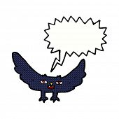 pic of vampire bat  - cartoon spooky vampire bat with speech bubble - JPG
