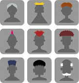 Hairstyle Men - Web Icon Set
