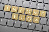 Golden income flow key on keyboard