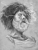 Smoking. Bearded Smoker - Hand Drawn Full Sized Illustration.