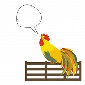 A Rooster On The Fence With Speech Bubble