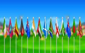 illustration of Flags of participating countries of cricket 2015
