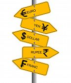 An illustration showing arrows of different currency direction