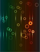 Modern, abstract background with falling circles and rectangles