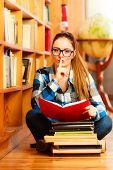 Woman Student In College Library